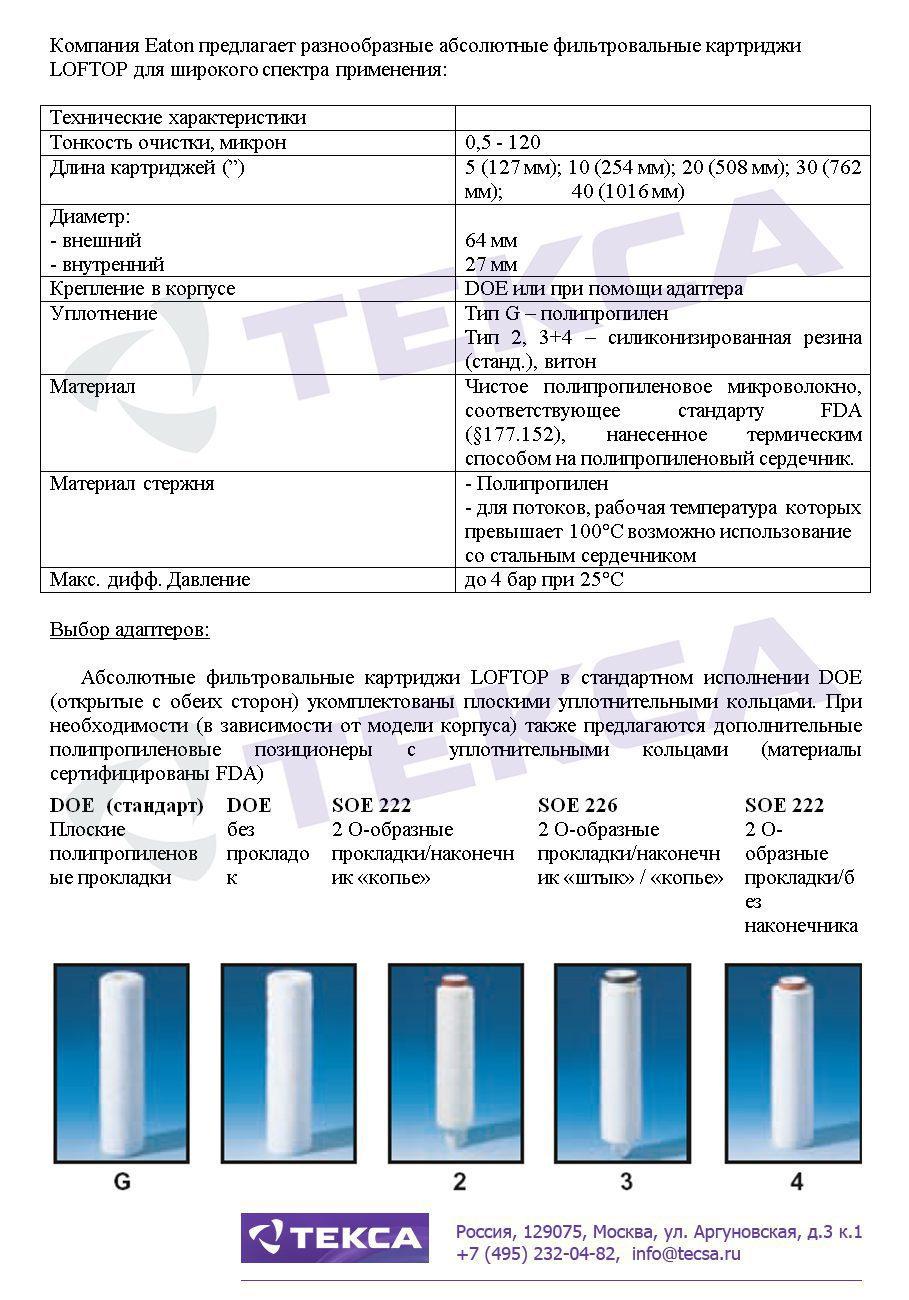 Технические характеристики фильтровальных картриджей LOFTOP