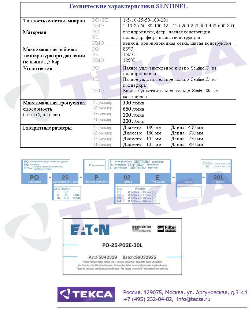 Технические характеристики фильтровальных мешков SENTINEL