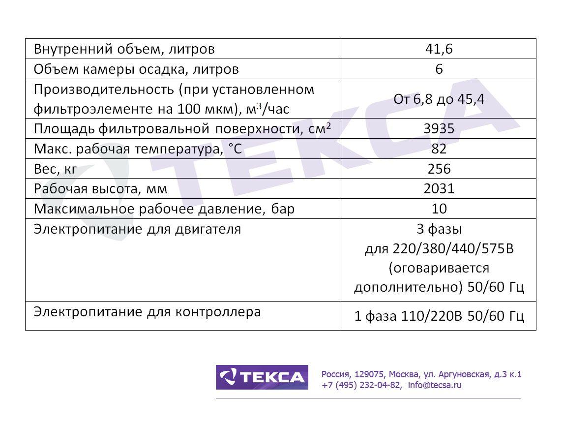 Технические характеристики самоочищающихся фильтров DCF-2000
