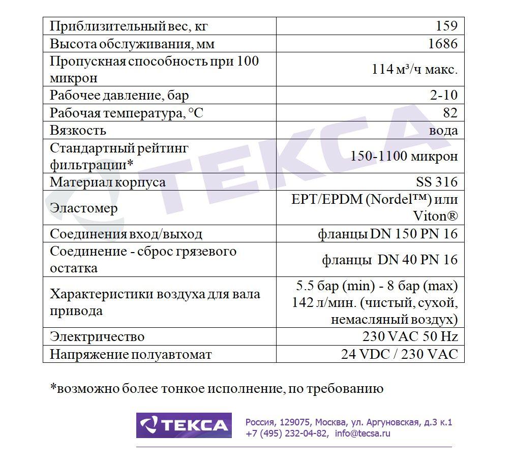 Технические характеристики самоочищающихся фильтров MCS-500