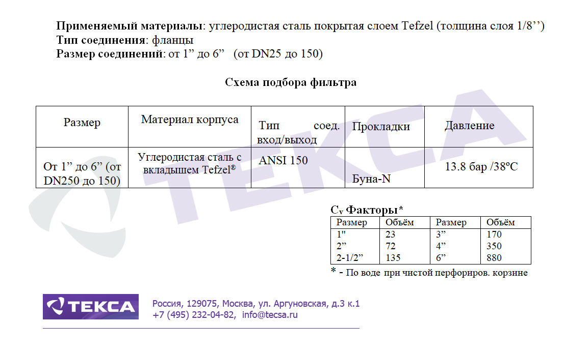 Технические характеристики сетчатых фильтров SIMPLEX 72L