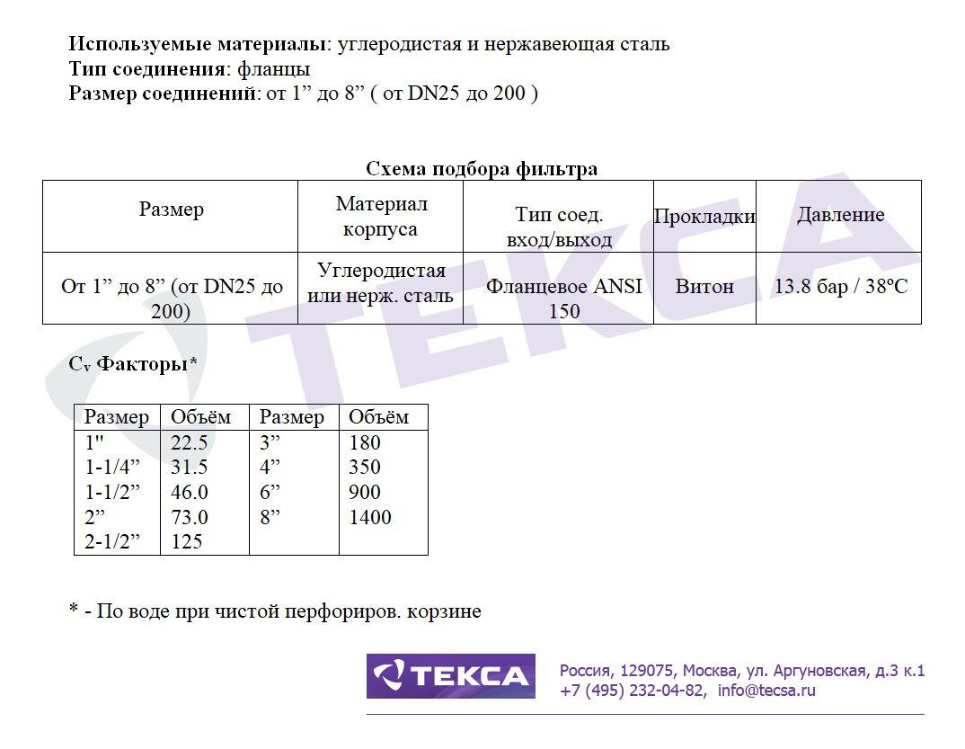 Технические характеристики сетчатых фильтров SIMPLEX 72SJ