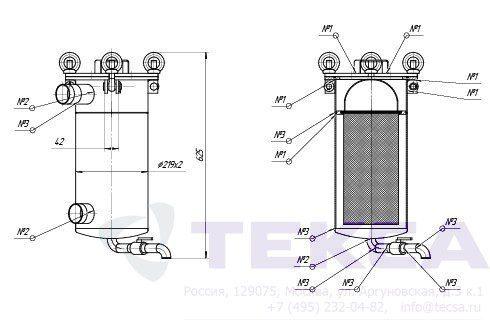 Моноэлементные корпуса мешочных фильтров серии DL модель 1P1S