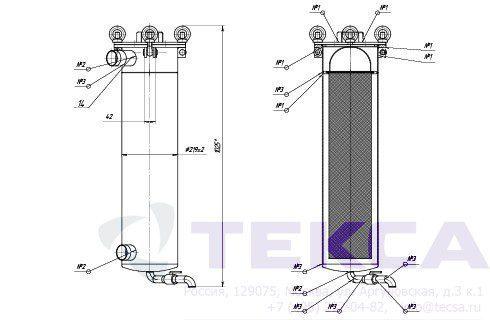 Моноэлементные корпуса мешочных фильтров серии DL модель 1P2S
