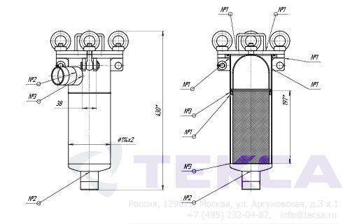 Моноэлементные корпуса мешочных фильтров серии DL модель 1P4S