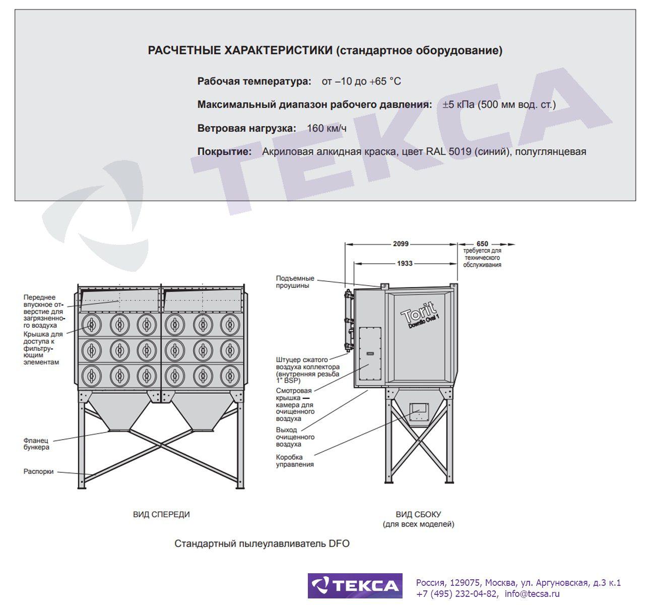 Технические характеристики картриджных пылеулавливателей серии Downflo Oval