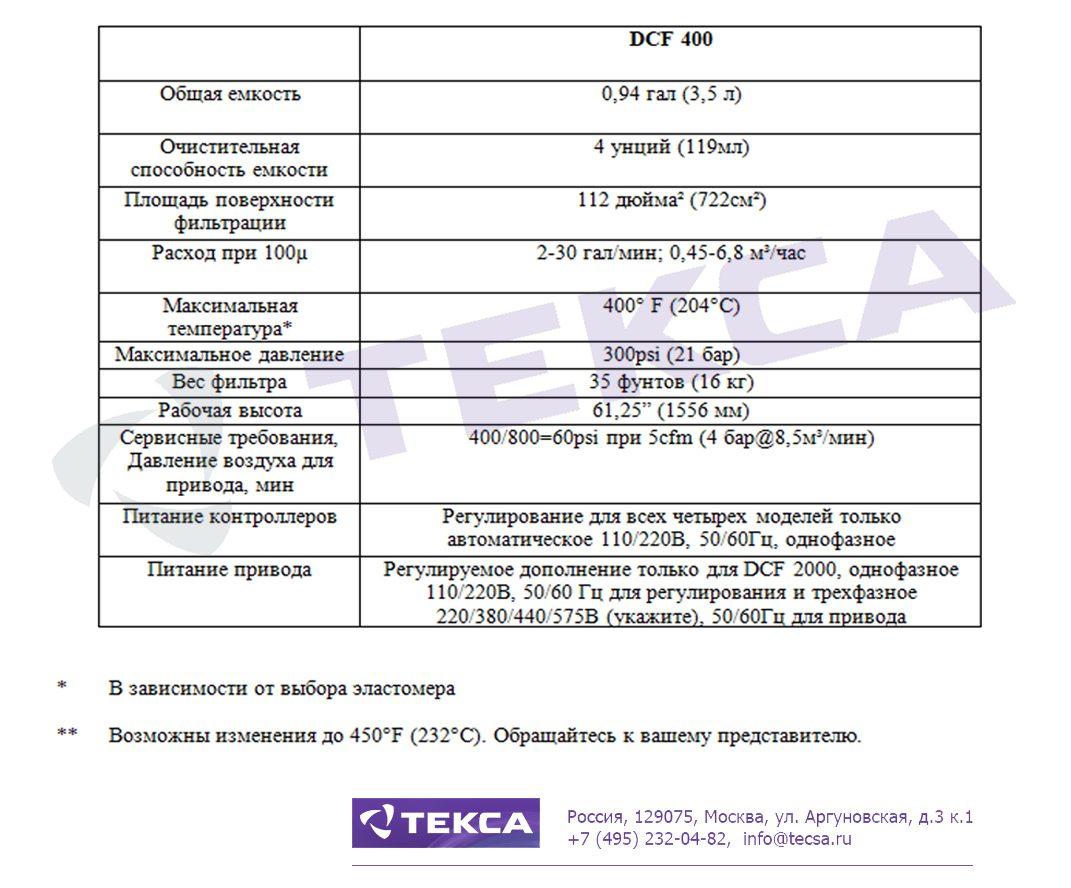 Технические характеристики самоочищающихся фильтров DCF-400D